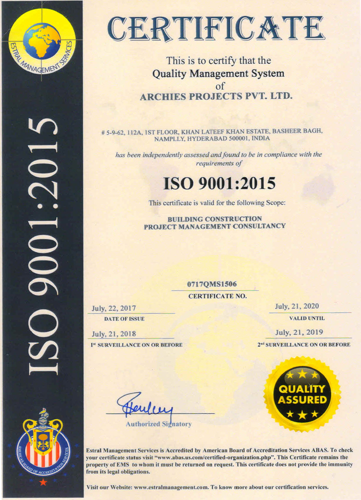 Iso certification archies projects pvt ltd the scope of certification is awarded by estral management services with the scope for building construction project management consultancy 1betcityfo Gallery